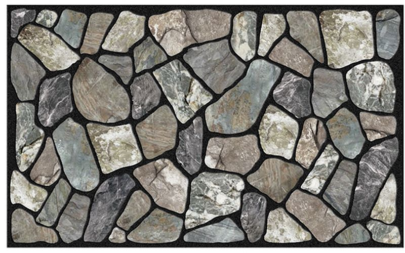Коврик придверный Apache Mills Flagstone, 45 х 76 см5415Удивительно красивые натуральные дизайны, представлены в коллекции придверных ковриков APACHE, которые способны перенести Вас с порога вашего дома на мощеные улочки Италии, в сады с дорожками из природного камня или на галичный пляж. Коврики APACHE, кроме неповторимого дизайна, обладают отличными чистящими характеристиками, высокой устойчивостью к загрязнению, высокими водоотталкивающими и гразезащитными свойствами, долговечны, не крошатся и не выцветают. Настоящая находка для тех, кто любит стильные, функциональные и надежные вещи. Коврик может использоваться как перед дверью с уличной стороны, так и внутри помещения, так как основание из переработанной резины не имеет запаха и не пачкает поверхность пола. Материал рабочей поверхности: полиэстер с печатным рисунком высокой четкости. Чистить встряхиванием, возможна чистка пылесосом или под струей воды с применением щедящих моющх средств, сушить на воздухе.