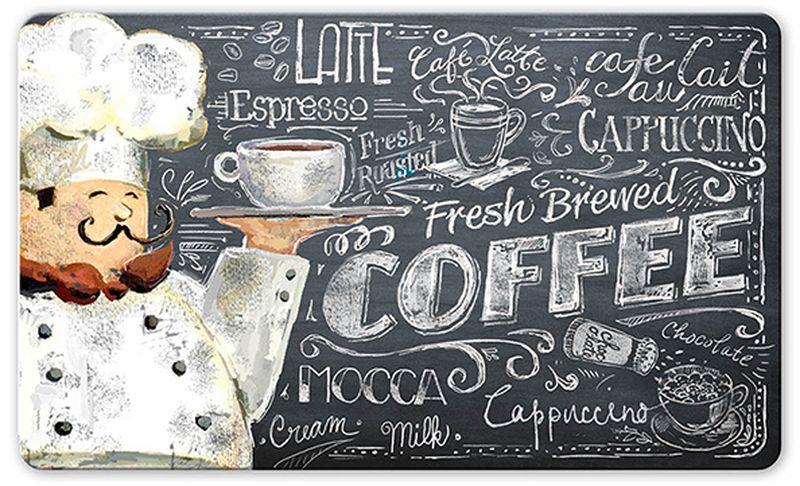 Коврик защитный Apache Mills Coffee Chef, 45 х 75 см5420Эксклюзивная новинка на российском рынке - мягкий и комфортный коврик для кухни. Может использоваться на кухне перед плитой или мойкой, на летней открытой кухне перед жаровней или барбекю, на лоджии или веранде. Коврик не только защищает поверхность пола от загрязнейний в местах, которые наиболее подвержены им, но облегчает нагрзку на стопу благодаря материалу, из которого изготовлен - вспененный ПВХ, поэтому обладает преимуществами терапевтической пены: превосходной амортизацией, ударопоглащающей функцией, принимает форму стопы и моментально восстанавливает исходное состояние. Коврик обладает отличными влагоотталкивающими свойствами, устойчив к загрязнениям. Печатный рисунок обладает высокой честкостью и цветопередачей, не вымывается и не выцветает при длительном использовании. Такой коврик станет настоящей находкой для домохозяк, которые много времени проводят стоя у плиты, и тех, кто просто любит готовить. Допускается счищать пятна теплой водой с мылом, сушить в горизонтальном положении.