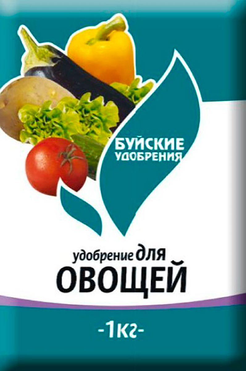 Удобрение Буйские Удобрения Для овощей, 1 кг1129453_зеленыйСостав и соотношение элементов питания комплексного минерального удобрения для овощей подобран с учетом требований овощных культур к минеральному питанию.Комплексное минеральное удобрение для овощей предназначено для полноценного питания овощных культур. • Азот N, % - 12,0 • Фосфор P2O5, % - 6,0 • Калий K2O, % - 15,0 • Магний MgO, % - 5 • Микроэлементы присутствуютСпособ применения:Внесение вразброс перед перекопкой почвы 50 – 60 г/м2.При подготовке грунта для рассады 10 - 15 г на 10 л грунта.При подкормках 15 – 20 г/м2 с заделкой в почву и последующим поливом.При всех способах Комплексное минеральное удобрение для овощей вносится только в сухом виде, с обязательной заделкой в почву.