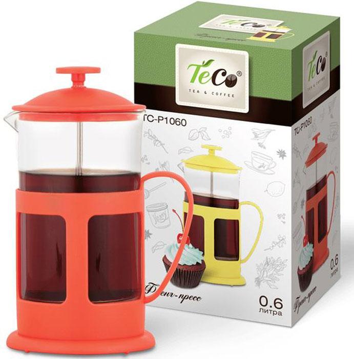 Френч-пресс Teco, 600 млTC-P1060-R(красный)Френч-пресс TECO 600 мл из пластика и стекла цветной