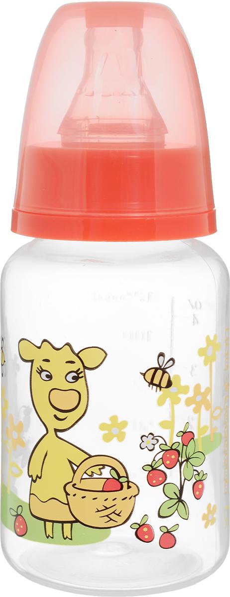 Мир детства Бутылочка для кормления с силиконовой соской от 0 месяцев цвет коралловый 125 мл