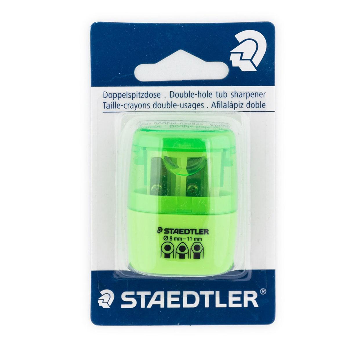 Staedtler Точилка на 2 отверстия цвет зеленый неон0703415Точилка в пластиковом корпусе на 2 отверстия. Неон зеленый. Блистер. Подходит для чернографитовых стандартных карандашей диаметром до 8,2 мм с углом заточки 23° для четких и аккуратных линий. Также для толстых чернографитовых и цветных карандашей диаметром до 11 мм, угол заточки 30° для широких и ровных линий. Металлическая затачивающая часть. Закрытая конструкция предотвращает высыпание мусора во время заточки. Безопасный крепеж крышки.