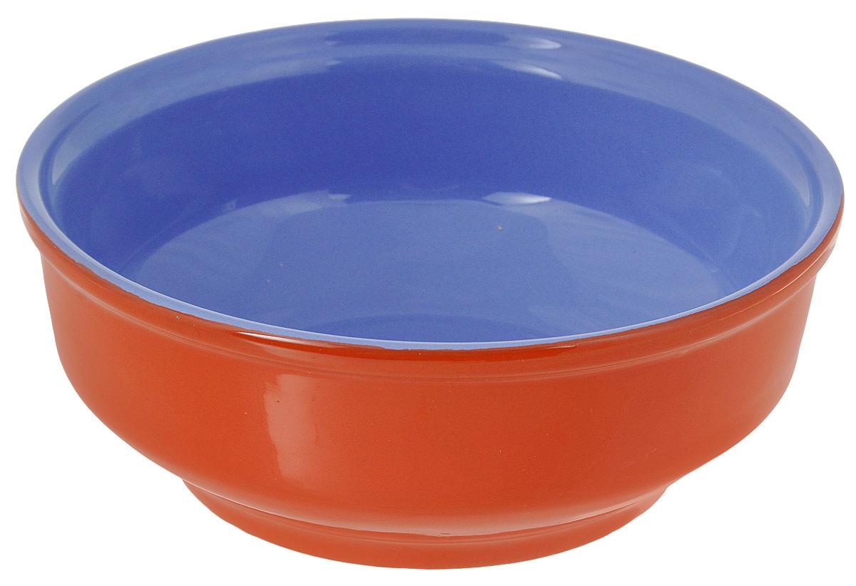 Салатник Борисовская керамика Русский, цвет: оранжевый, голубой, 500 мл115610Салатник Борисовская керамика Русский выполнен из керамики, произведенной из экологически чистой красной глины с покрытием пищевой глазурью. Изделие можно использовать для подачи супов, каш, мюсли, хлопьев с молоком, также подойдет для сервировки салатов, закусок, соусов и многого другого.Посуда Борисовская керамика подчеркнет прекрасный вкус хозяйки и станет отличным приобретением для кухни. Можно использовать в духовке и микроволновой печи.Диаметр салатника (по верхнему краю): 16 см. Высота салатника: 6 см.