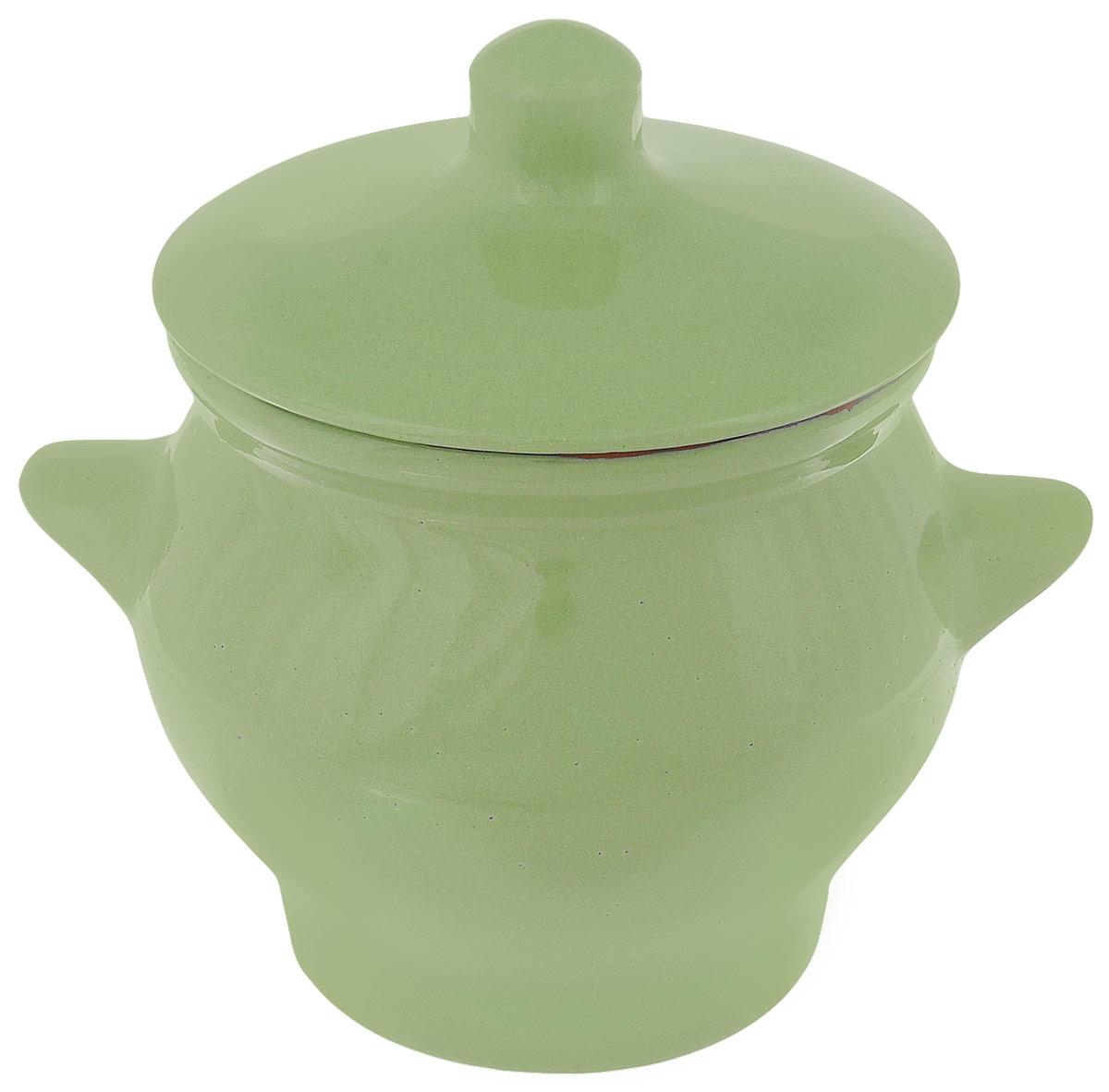 Горшок для жаркого Борисовская керамика Радуга, цвет: салатовый, 650 мл391602Горшок для жаркого Борисовская керамика Радуга, цвет: салатовый, 650 мл