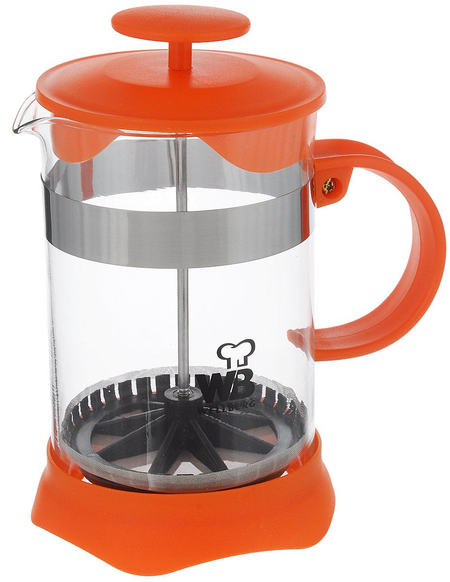 Френч-пресс Wellberg, цвет: оранжевый, прозрачный, 800 мл. 9935 WB68/5/3Френч-пресс Wellberg поможет приготовить вкусный и ароматный чай или кофе. Колба изготовлена из термостойкого стекла и закреплена стальным обручем. Основание, ручка и крышка выполнены из пластика. Утолщенный ободок колбы повышает прочность и продлевает срок службы изделия. Форма края носика препятствует образованию подтеков. Плотно прилегающая крышка позволяет надолго сохранить аромат напитка. Фильтр-поршень из нержавеющей стали обеспечивает равномерную циркуляцию воды и насыщенность напитка. С его помощью также можно регулировать степень крепости напитка. Засыпая чайную заварку или кофе под фильтр, заливая горячей водой, вы получаете ароматный напиток с оптимальной крепостью и насыщенностью. Остановить процесс заваривания легко, для этого нужно просто опустить поршень, и все уйдет вниз, оставляя вверху напиток, готовый к употреблению.Высота френч-пресса: 17 см. Диаметр колбы (по верхнему краю): 10 см. Диаметр основания: 11 см.