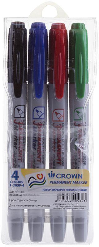 Crown Набор маркеров P-505F 4аP-505F-4Удобный и экономичный набор из маркеров модели P-505F. Четыре цвета. Мягкая упаковка с подвесом.