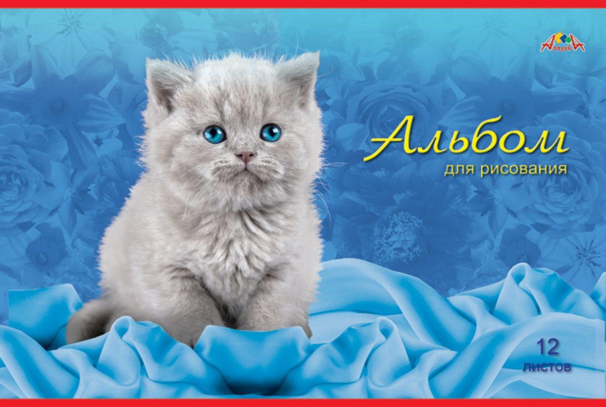 Апплика Альбом для рисования Серый котенок 12 листовС1009-22Альбом для рисования, на скобе, 12 листов, формат А4, блок - офсет повышенной белизны 110 г/м2, обложка – офсет 120 г/м2, полноцветная печать