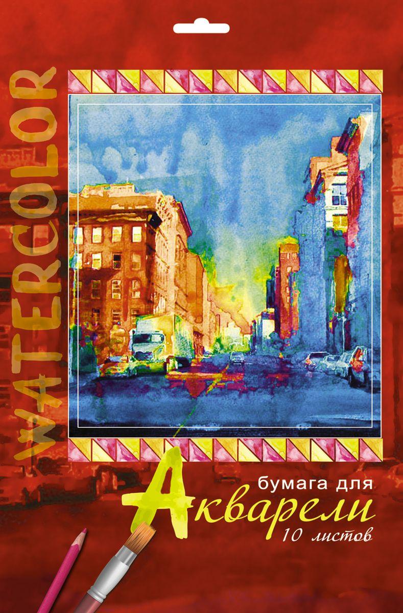 Апплика Папка для акварели Городской пейзаж 10 листов формат А4С0162-13Папка для акварели, формат А4, обложка-папка - мелованный картон, блок - бумага для акварели с содержанием хлопка 180 г/м2, 10 листов
