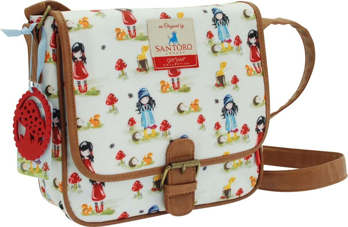 Santoro Сумка детская на плечо Toadstools Pastel Print0012553Прекрасная сумка, которая идеально подходит для всего! С регулируемым ремешком и кожаной отделкой с пряжкой, эта сумка имеет чувство современности, дополненное привлекательным оформлением. Откройте магнитный штифт, чтобы открыть внутреннее пространство для ежедневных вещей, а также дополнительный отсек с молнией и удобный карман для мобильного телефона. Сумка также обладает восхитительным чувственным прикрытием - мода для Gorjuss важна!Каждая сумка сделана вручную.Материал:Наружный: 100% полиэстер, Покрытие: 100% ПВХ, Подкладка: 100% полиэстер, Обрезка: 100% полиуретан, Ремни: 100% полиэстер