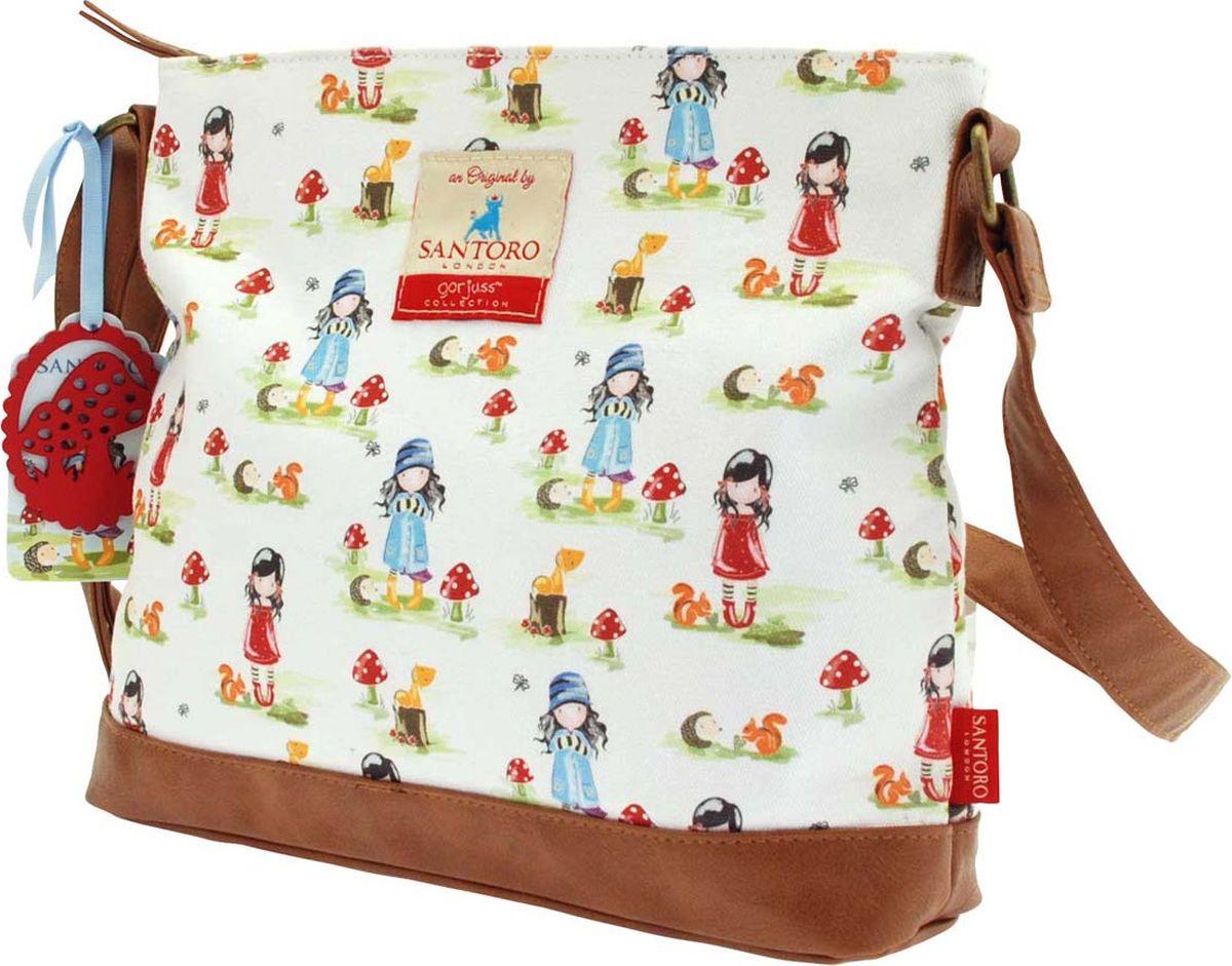 Santoro Сумка детская на плечо Pastel Pattern ToadstoolsSKEB-UT8-866Удобства холщевой сумке Santoro не занимать. Ткань, из которой выполнена сумка, легко стирается, а ремешок легко можно подстроить под нужную вам длину. Ну и внешне сумка выглядит здорово: пастельные тона, трогательный принт и детали из эко-кожи задают правильное ретро-настроение.