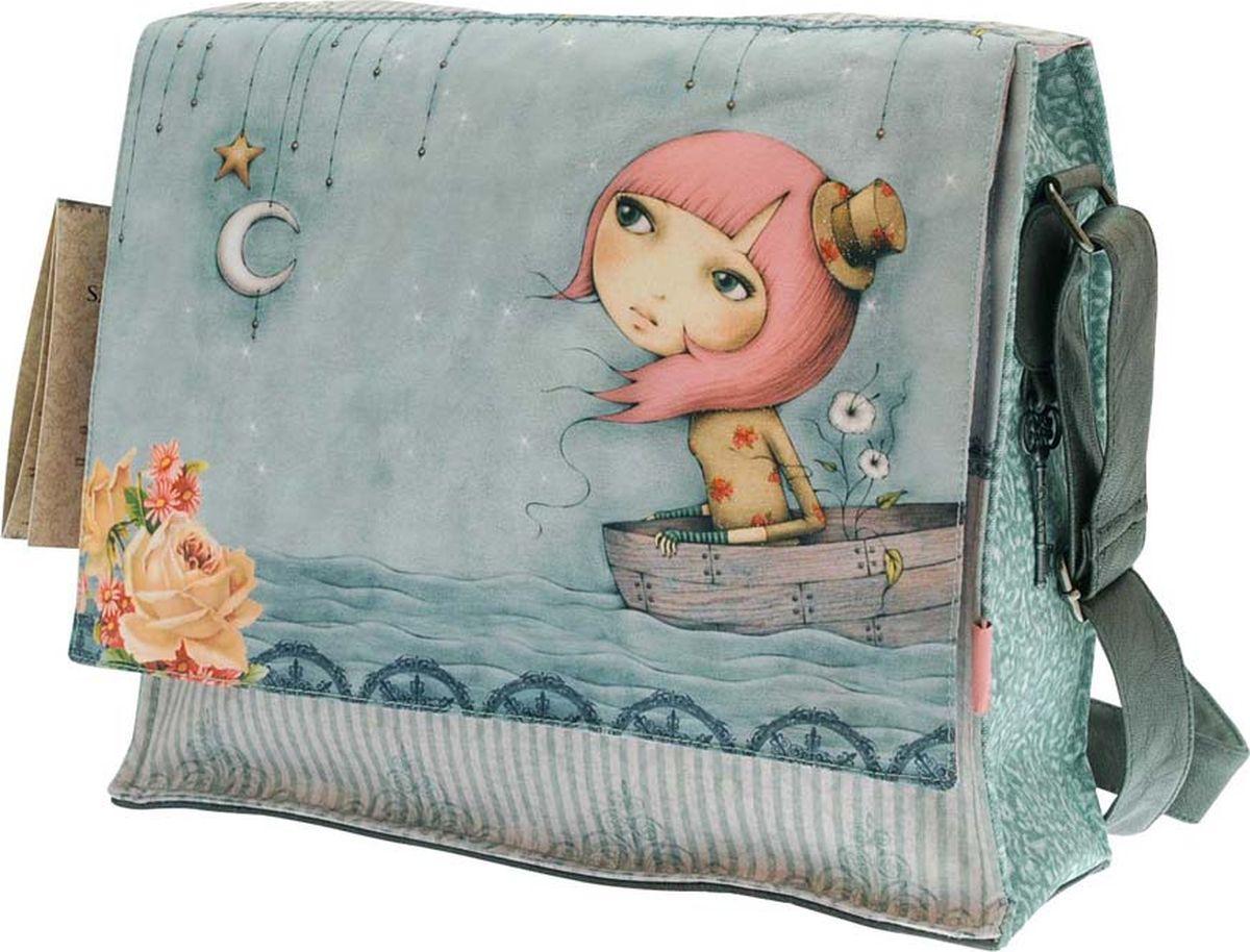 Santoro Сумка детская Adrift0013201Эта стильная классическая сумка из коллекции Mirabelle.В главном отделении ваши лакомства будут заключены в красивую печатную розовую подкладку и закреплены креплением на липучке. Внутри мешка есть небольшой отдельный карман на молнии.Каждая сумка выполнена вручную.Материал: внешний: 100% полиэстер, подкладка: 100% полиэстер, отделка: 100% полиуретан, обрывки: 100% полиуретан