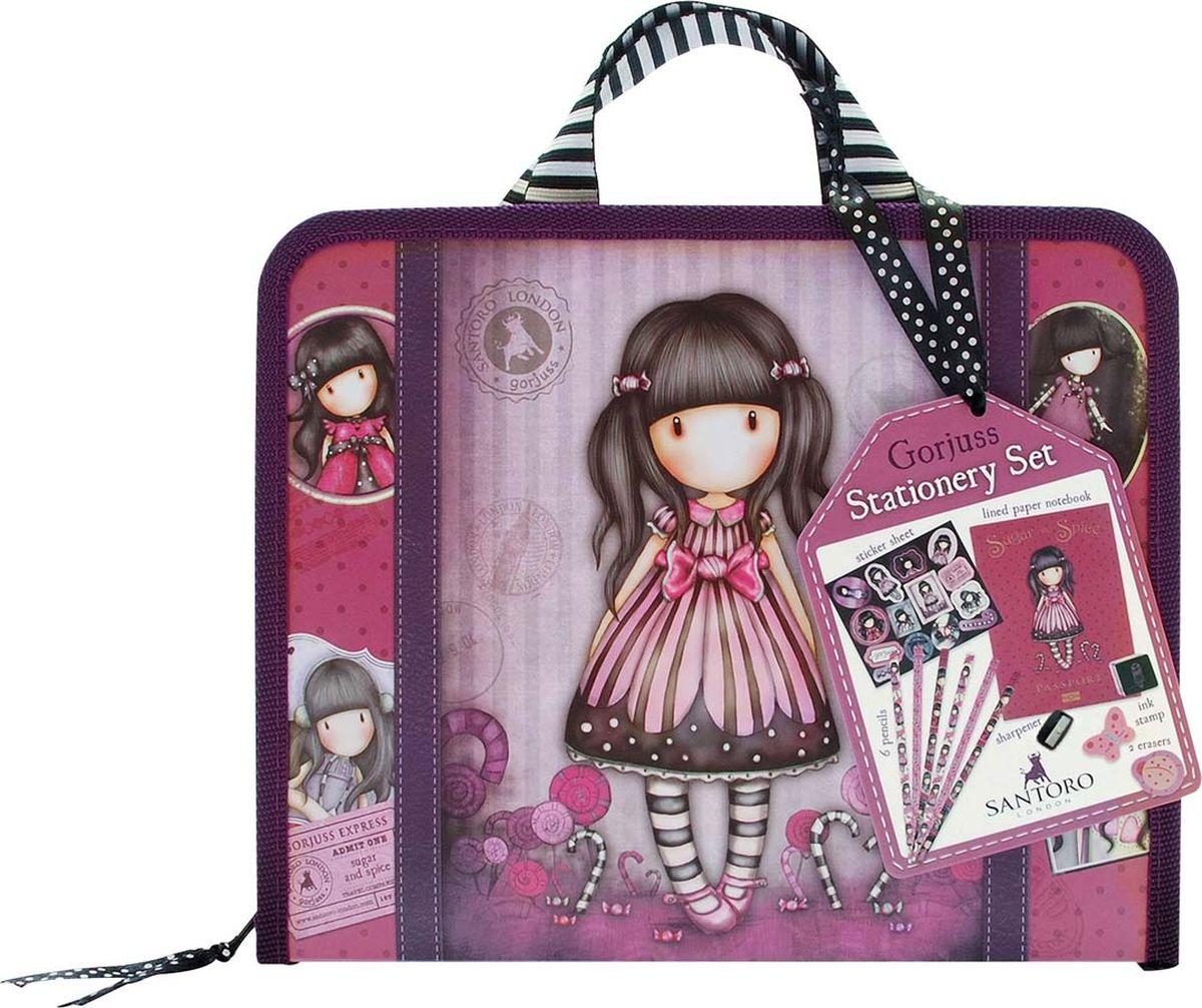 Канцелярский набор (блокнот, наклейка х14, открытка х3, ластик х2, точилка, печать, карандаш грифельный графитовый х6) - Sugar and Spice