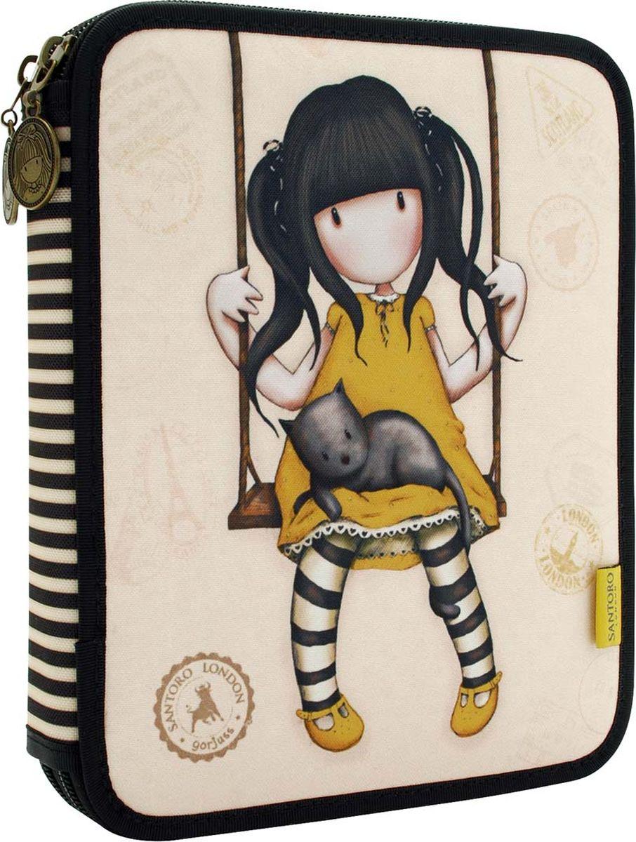 Готовый вариант для школы!Пенал на молнии-застежке, украшеной античным латунным эффектом и с очаровательной девочкой Gorjuss.В комплекте 46 предметов.