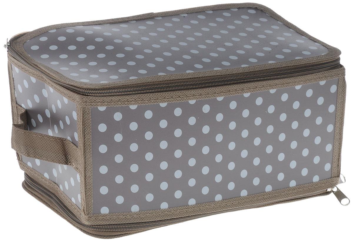 Коробка для хранения Handy Home Полька, складная, 30 х 15 х 15 смESH08 SКоробка для хранения Handy Home Полька изготовлена из полипропилена и оформлена оригинальным принтом. Изделие легко и быстро складывается. Коробка закрывается с помощью молнии и может вмешать в себя косметику и другие средства. Изделие дополнено ручкой для удобства переноски. Размеры коробки в сложенном виде: 30 х 15 х 2 см
