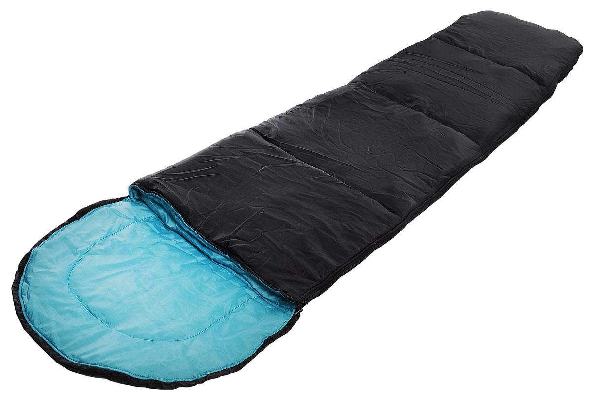 Спальный мешок Onlitop Кокон, цвет: черный, бирюзовый, правосторонняя молния. 1313768KOC-H19-LEDКомфортный, просторный и очень теплый 3-х сезонный спальник Onlitop Кокон предназначен для походов и для отдыха на природе не только в летнее время, но и в прохладные дни весенне-осеннего периода. В теплое время спальный мешок можно использовать как одеяло (в том числе и дома).Он выполнен из качественных материалов - синтепон и полиэстер (из которого выполнены подкладка и наружный слой), которые обладают теплоизоляционными характеристиками, они очень прочны, что сделало спальный мешок весьма долговечным. Длина мешка - 210 см, его ширина - 70 см, что обусловлено его узкой формой. Такому спальнику всегда найдется применение среди любителей активного отдыха, а места в сложенном виде в чехле он занимает мало. Спальник обладает очень маленьким весом, всего 1340 г, это упрощает его транспортировкув походе.