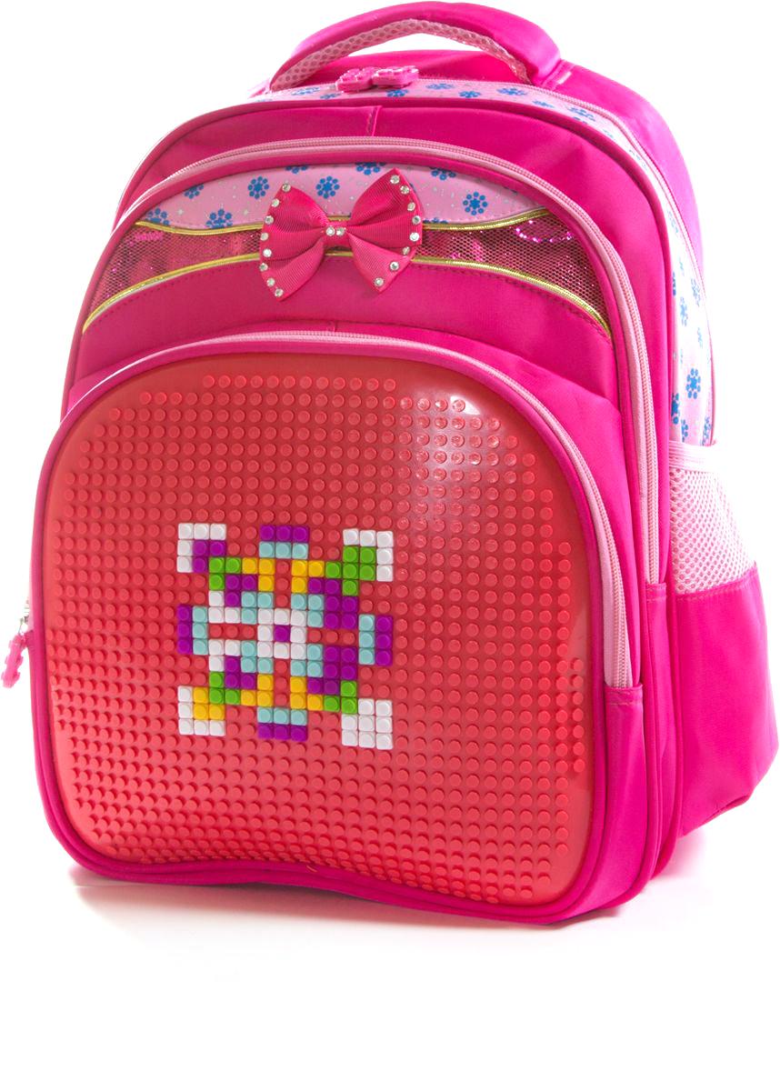 Vittorio Richi Рюкзак для девочки цвет красный, розовый K07R16280272523WDРюкзак Vittorio Richi с набором пикселей в комплекте. Водоотталкивающая износостойкая ткань. Укрепленная спинка, эластичные широкие лямки. У рюкзака два основных отделения, дополнительный внешний карман на молниях. Два открытых кармашка по бокам и дополнительный карман для мелочей внутри.