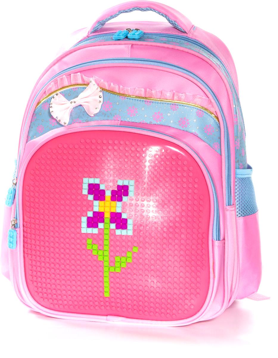 Vittorio Richi Рюкзак для девочки цвет розовый, голубой K07R163801730396Рюкзак Vittorio Richi с набором пикселей в комплекте. Водоотталкивающая износостойкая ткань. Укрепленная спинка, эластичные широкие лямки. У рюкзака два основных отделения, дополнительный внешний карман на молниях. Два открытых кармашка по бокам и дополнительный карман для мелочей внутри.