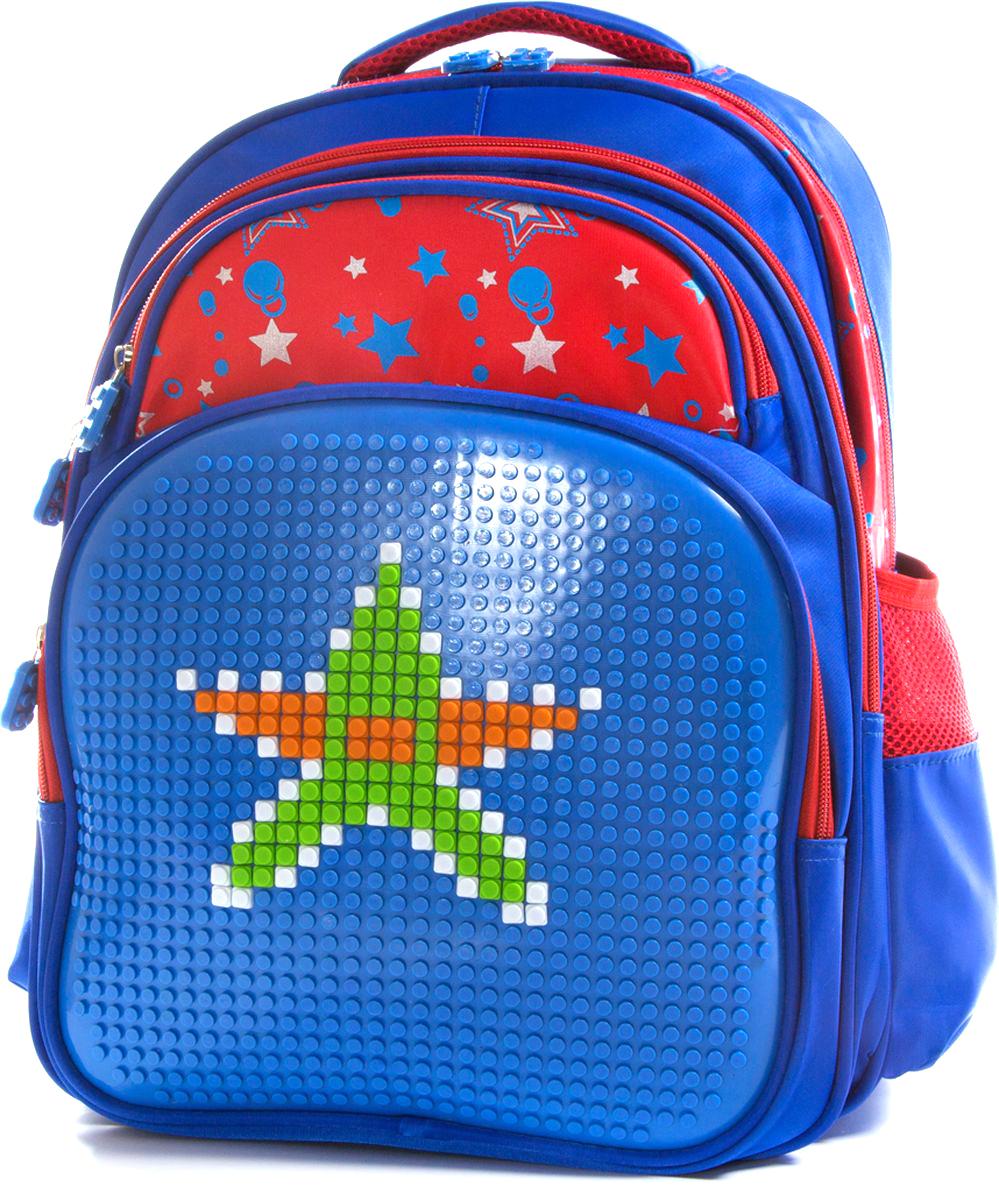 Vittorio Richi Рюкзак для мальчика цвет синий, красный K07R166804K07R166804Рюкзак Vittorio Richi с набором пикселей в комплекте. Водоотталкивающая износостойкая ткань. Укрепленная спинка, эластичные широкие лямки. У рюкзака два основных отделения, дополнительный внешний карман на молниях. Карман на молнии для карандашей и ручек Два открытых кармашка по бокам и дополнительный карман для мелочей внутри.