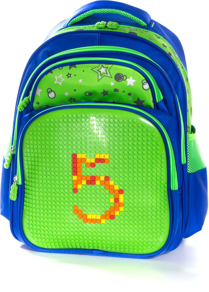 Vittorio Richi Рюкзак цвет синий салатовый K07R166807K07R166807Рюкзак Vittorio Richi с набором пикселей в комплекте выполнен из водоотталкивающей и износостойкой ткани.Рюкзак имеет укрепленную спинку, эластичные широкие лямки. У рюкзака два основных отделения на застежках-молниях, дополнительный внешний карман на молниях, карман на молнии для карандашей и ручек и два открытых кармашка по бокам. Внутри рюкзака находится дополнительный карман для мелочей.