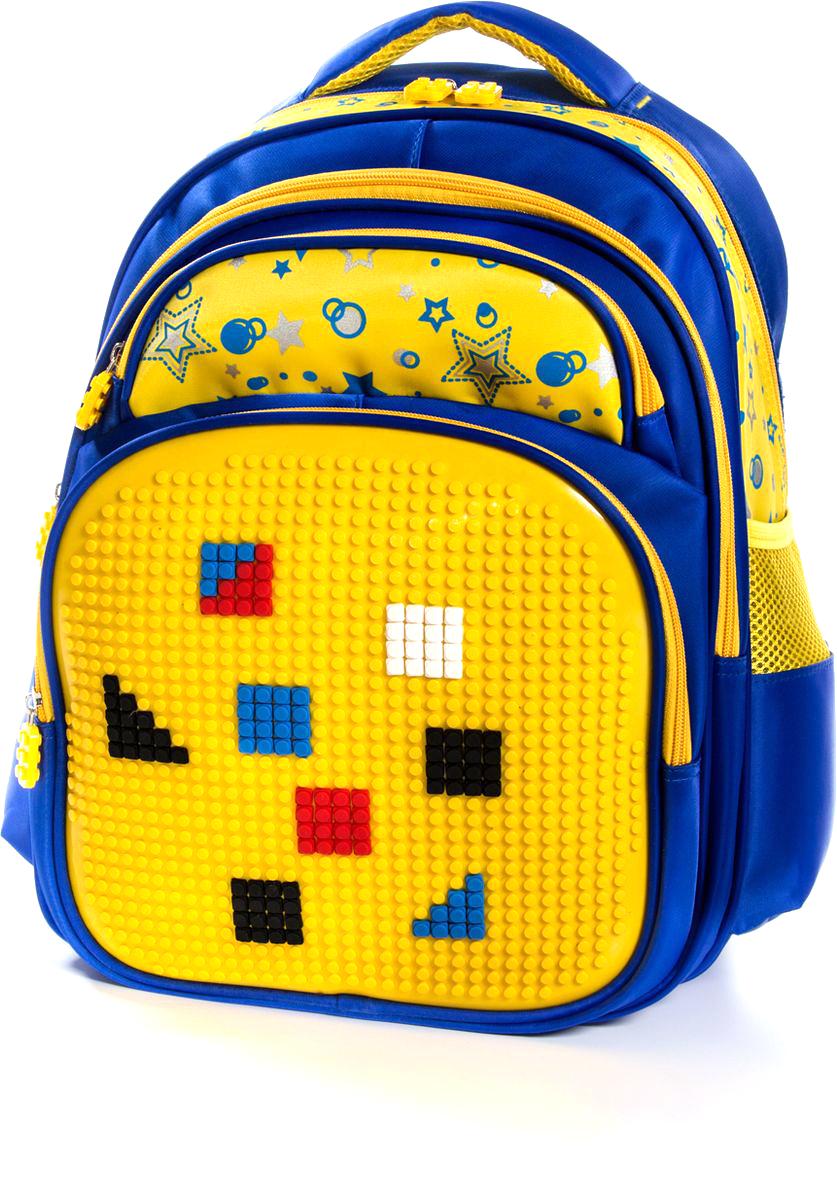 Vittorio Richi Рюкзак цвет синий желтый K07R166808K07R166808Рюкзак Vittorio Richi с набором пикселей в комплекте выполнен из водоотталкивающей и износостойкой ткани.Рюкзак имеет укрепленную спинку, эластичные широкие лямки. У рюкзака два основных отделения на застежках-молниях, дополнительный внешний карман на молнии, карман на молнии для карандашей и ручек и два открытых кармашка по бокам. Внутри изделия находится дополнительный карман для мелочей.
