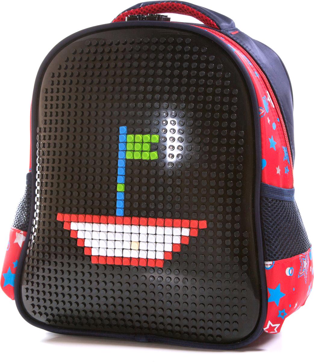Vittorio Richi Рюкзак для мальчика цвет черный, красный K07R88805K07R88805Рюкзак Vittorio Richi с набором пикселей в комплекте. Водоотталкивающая износостойкая ткань. Укрепленная спинка, эластичные широкие лямки. У рюкзака одно основное отделение, дополнительный карман для мелочей внутри, два открытых кармашка по бокам.