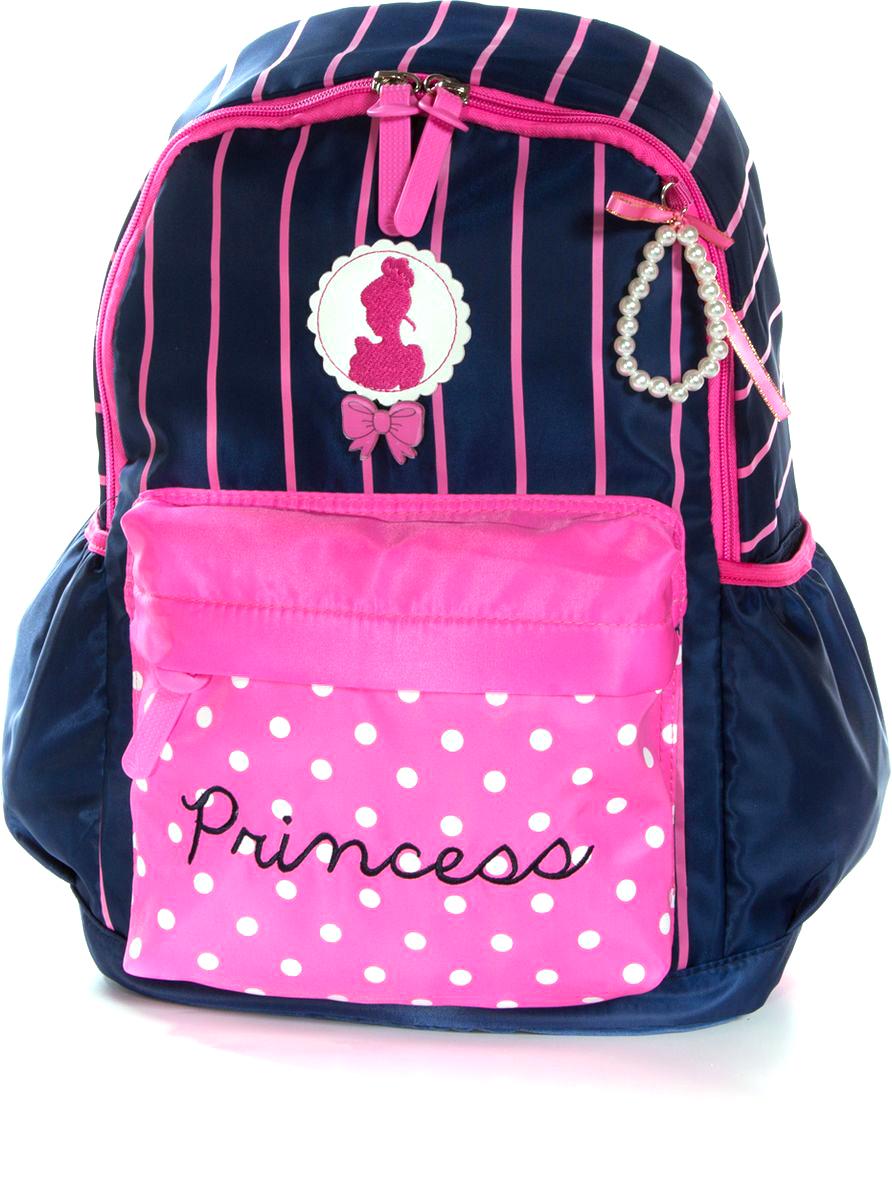Vittorio Richi Рюкзак для девочки цвет темно-синий, розовый К07R9606139105173000Рюкзак Vittorio Richi из водоотталкивающей износостойкой ткани. Укрепленная спинка, эластичные широкие лямки. У рюкзака одно основное отделение, дополнительный карман для мелочей внутри, два открытых кармашка по бокам, внешний объёмный карман на молнии.