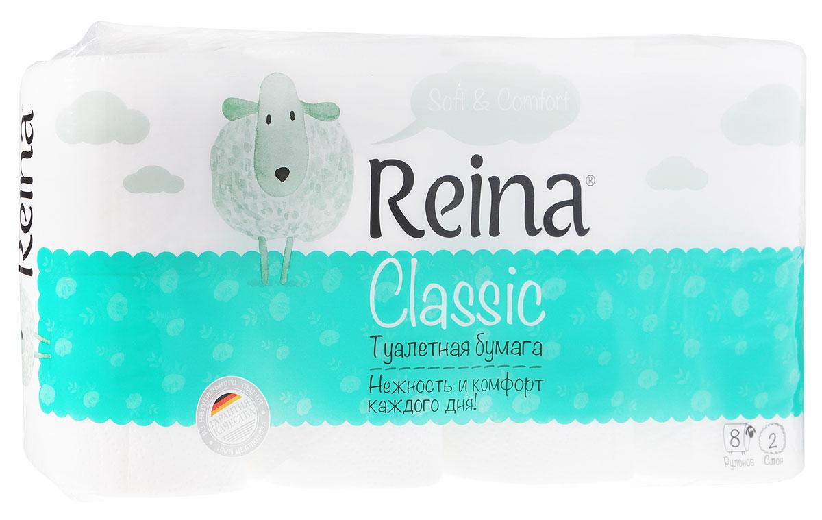 Бумага туалетная Reina Classic, двухслойная, 8 рулонов391602Двухслойная туалетная бумага Reina Classic изготовлена из натуральной 100% целлюлозы без добавления ароматизаторов и подходит для использования всей семьей. Бумага прекрасно впитывает воду и другие жидкости и незаменима для проведения санитарно-гигиенических процедур, а также для поддержания чистоты в помещении. Узорное тиснение надежно соединяет два слоя бумаги между собой и делает каждый листок прочным и мягким. Перфорация позволяет легко отрывать ровные фрагменты бумаги необходимой длины. Бумага не крошится в руках, прекрасно растворяется в воде при смывании и не создает засоры в трубах.
