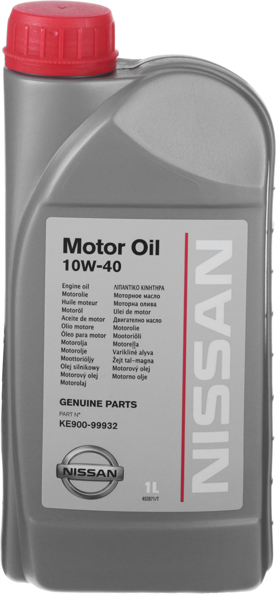 Масло моторное Nissan, полусинтетическое, класс вязкости 10W-40, 1 л10503Моторное масло Nissan - оригинальное моторное масло для современных многоклапанных бензиновых и дизельных двигателей с гидрокомпенсаторами (включая турбированные), устанавливаемых на автомобили Nissan и Infiniti. Имеет высокие эксплуатационные характеристики, соответствующие самым строгим требованиям и стандартам компании Nissan. Сбалансированная вязкость моторного масла Nissan позволяет уменьшить износ деталей двигателя при повышенных нагрузках и гарантирует надежную защиту двигателя даже при экстремально тяжелых условиях эксплуатации. Отличная текучесть масла обеспечивает легкий пуск двигателя даже при низких температурах окружающей среды.Товар сертифицирован.
