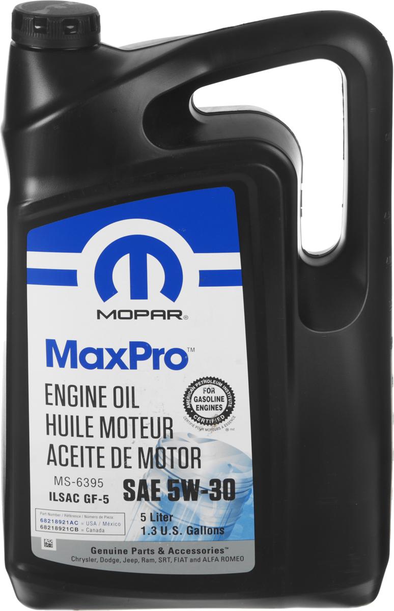Масло моторное Mopar MaxPro, полусинтетическое, класс вязкости 5W-30, 5 л68218921AAМоторное масло Mopar MaxPro - полусинтетическое масло для бензиновых двигателей. Разработано специально для применения в современных бензиновых двигателях автомобилей Chrysler, Jeep и Dodge. Моторное масло Mopar MaxPro предназначено для двигателей, где производителем автомобиля предписано использовать масло с вязкостью SAE 5W-30 и спецификацией MS-6395.Товар сертифицирован.