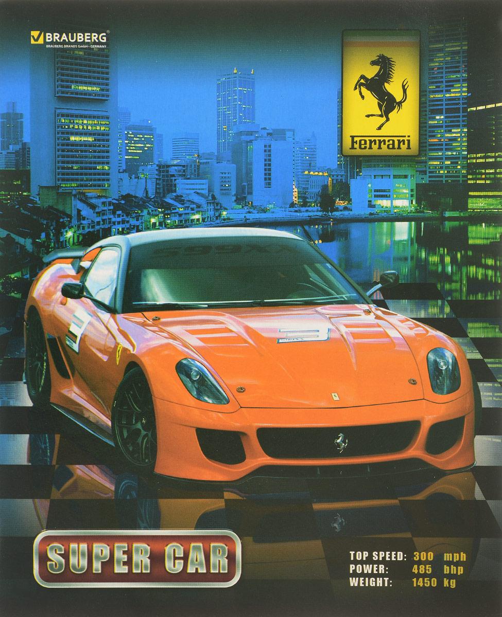 Brauberg Тетрадь Авто Ferrari 48 листов в клеткуТК120_14935Тетрадь Brauberg Авто Ferrari подойдет как школьнику, так и студенту. Обложка тетради выполнена из плотного картона, что позволит сохранить ее в аккуратном состоянии на протяжении всего времени использования.Внутренний блок тетради, соединенный двумя металлическими скрепками, состоит из 48 листов белой бумаги. Стандартная линовка в клетку голубого цвета дополнена полями.