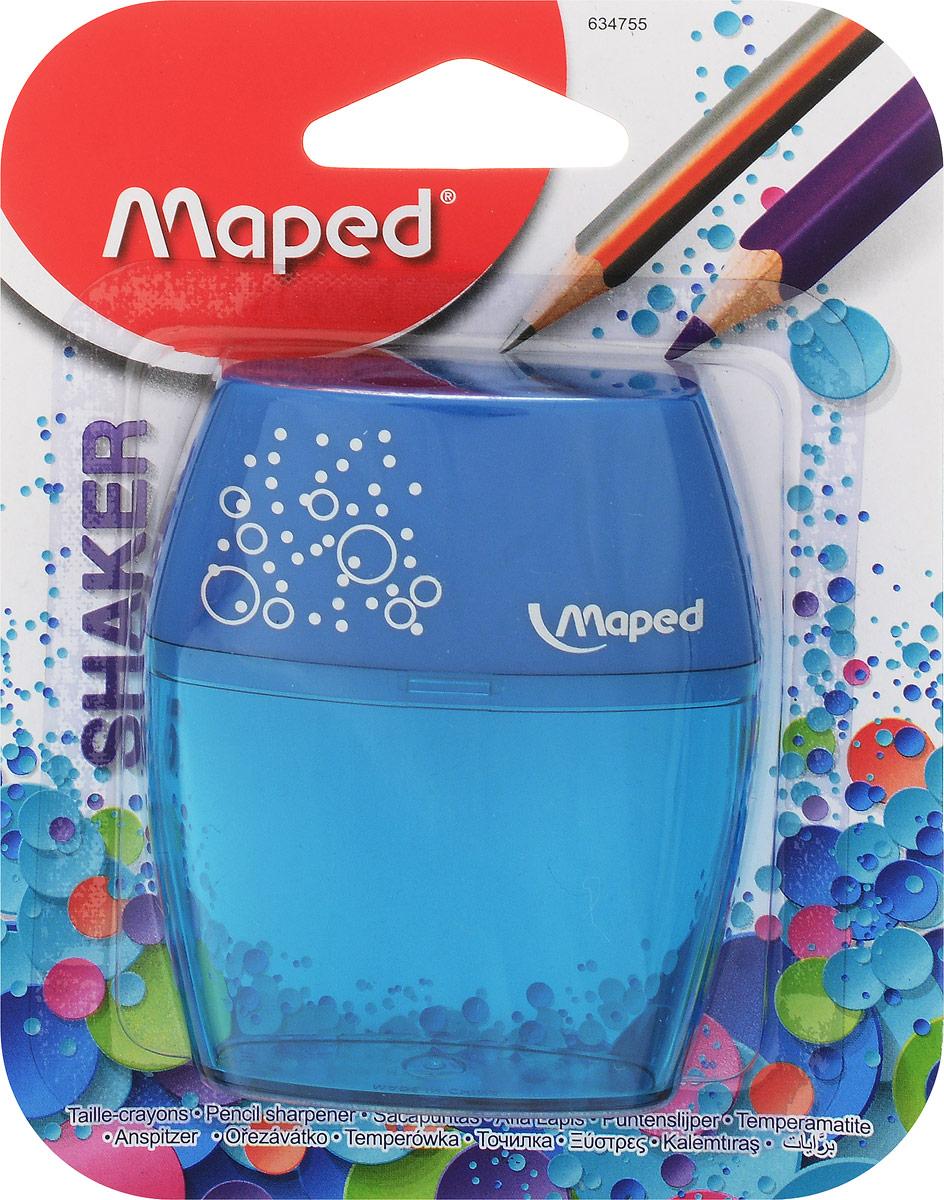 Maped Точилка Shaker двойная цвет синий634755_бирюзовый, синийТочилка Maped Shaker изготовлен с двумя отверстиями - для обычных карандашей и для карандашей Джамбо.Точилка выполнена из ударопрочного пластика. Полупрозрачный контейнер для сбора стружки позволяет визуально контролировать уровень заполнения и вовремя производить очистку.