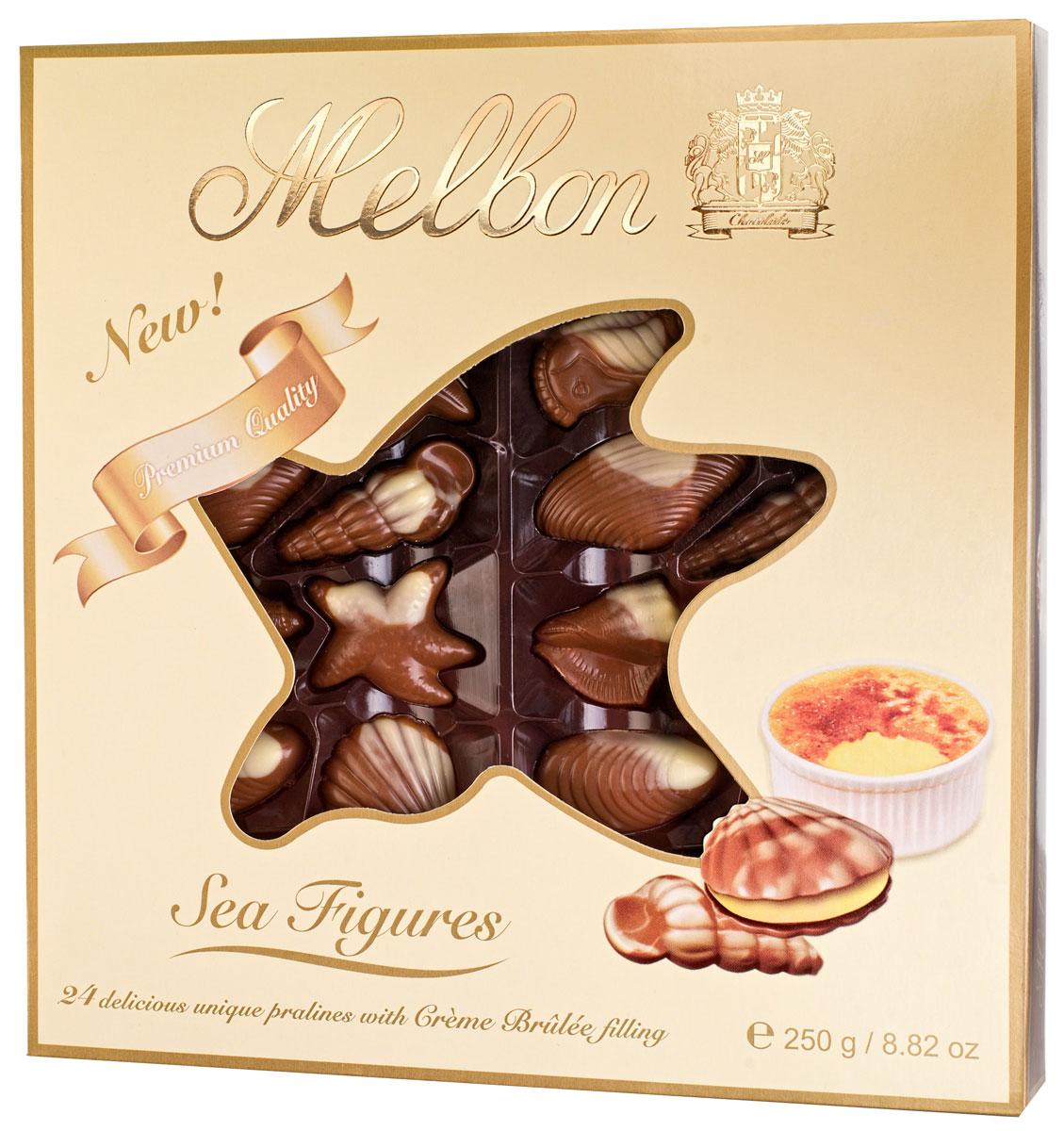 Melbon Морские фигуры конфеты из молочного и белого шоколада с начинкой крем-брюле, 250 г3800104701882