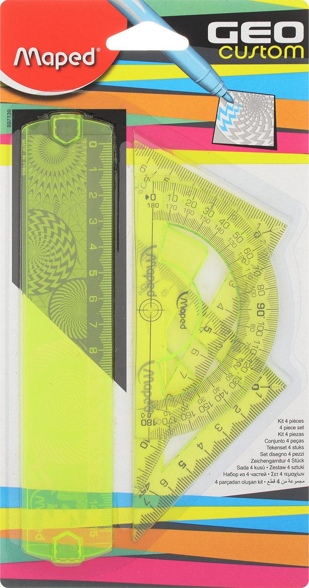 Maped Геометрический набор Start 4 предмета цвет желтый72523WDГеометрический набор Maped, выполненный из цветного прозрачного пластика, состоит из четырех предметов: линейки на 15 сантиметров, транспортира на 180 градусов и 2 угольников. Один угольник с углом 45 градусов, второй угольник - 60 градусов. Нулевая отметка расположена в вершине угольников, что позволяет измерять и чертить одновременно.Шкала выполнена гравировкой.