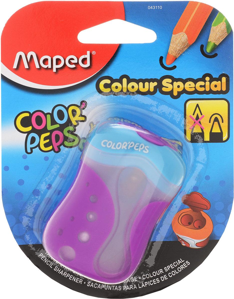 Maped Точилка Color Peps двойная цвет голубой фиолетовый634755_бирюзовый, синийДвойная точилка Color Peps с пластиковым корпусом предназначена для затачивания цветных карандашей.Точилка имеет два отверстия для карандашей различных диаметров. Острое лезвие обеспечивает высококачественную и точную заточку. Карандаш затачивается легко и аккуратно, а опилки после заточки остаются в специальном контейнере. Точилка дополнена практичной пластиковой крышечкой, а также системой закругления кончика.