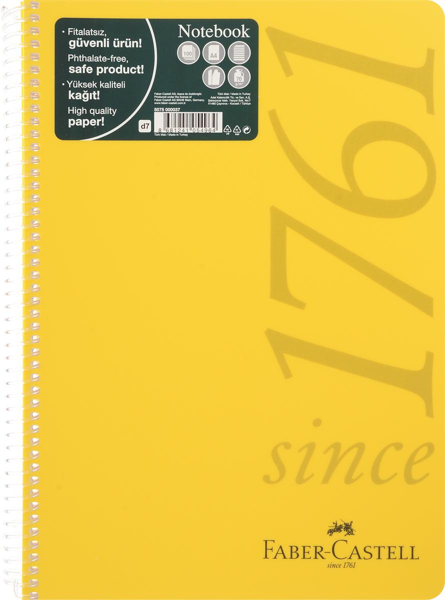 Faber-Castell Блокнот Since 1761 100 листов в линейку цвет желтый1332404Оригинальный блокнот Faber-Castell Since 1761 в твердой пластиковой обложке подойдет для памятных записей, любимых стихов и многого другого.Внутренний блок состоит из 100 листов в линейку. Блокнот скреплен спиралью. Такой блокнот станет вашим верным помощником,а также отличным подарком для в близких и друзей.