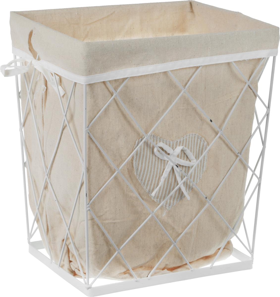 Корзина для белья Handy Home Решетка, цвет: белый, 35 х 24 х 40 смEW-50 SПрямоугольная бельевая корзина Natural House Решетка выполнена из металла и предназначена для хранения белья. Корзина оснащена съемным чехлом из ткани, который легко стирается. Корзина предназначена для хранения вещей и декоративного оформления помещения.