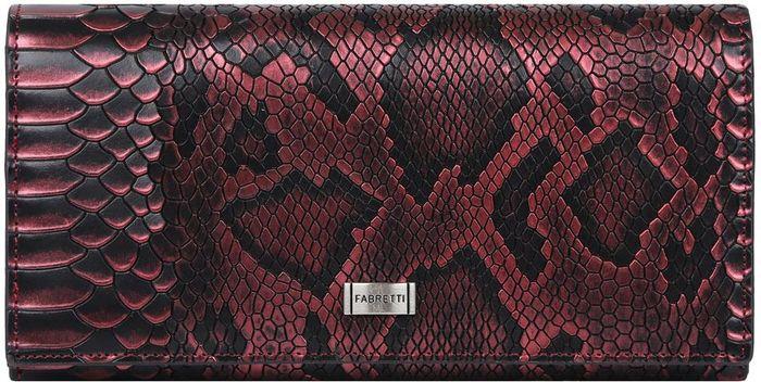 Кошелек женский Fabretti. 72037-red pitonMX3024820_WM_SHL_010Роскошный женский кошелек от итальянского бренда Fabretti выполнен из натуральной кожи с невероятно стильной отделкой под рептилию. Сочетание модного оттенка марсала и черного цвета, лаконичная форма и фурнитура под серебро превращают кошелек в элегантный аксессуар, который придется по вкусу любительницам роскошной классики. Внутри модели находятся 5 вместительных отделения для купюр, одно из которых закрывается на удобную молнию. Также вы сможете разместить свои дисконтные и кредитные карты с помощью 14 карманов. На лицевой части аксессуара есть глубокий потайной карман на молнии. Кошелек закрывается на прочную заклепку с логотипом бренда.