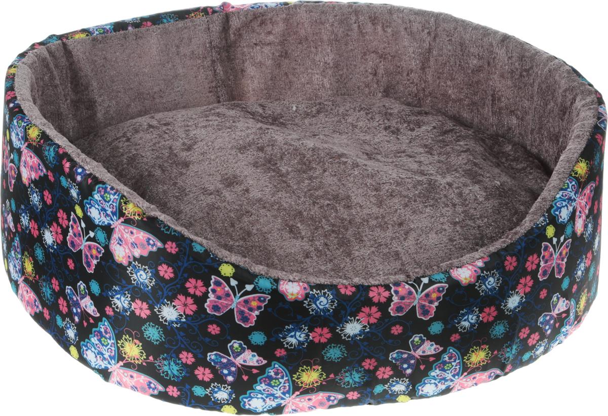 Лежак для кошек и собак GLG Нежность, цвет: черный, розовый, голубой, 54 х 46 х 17 см0120710Лежак для кошек и собак GLG Нежность, цвет: черный, розовый, голубой, 54 х 46 х 17 см