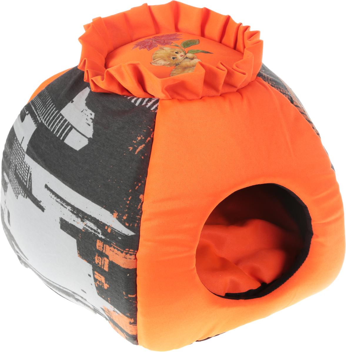 Домик-трансформер для животных GLG Гнездышко, цвет: оранжевый, черный, серый, 46 х 36 х 40 см0120710Мягкий домик-трансформер GLG Гнездышко обязательно понравится вашему питомцу. Он выполнен из высококачественного материала, а наполнитель - из мягкого поролона и синтепона. Такиематериалы не теряют своей формы долгое время.Домик-трансформер оснащен мягкой съемной подстилкой. При необходимости его можно преобразовать в лежак с высокими бортиками, которые обеспечат вашему любимцу уют. Домик-трансформер GLG Гнездышко станет излюбленным местом вашего питомца, подарит ему спокойный и комфортный сон, а также убережет вашу мебель от шерсти.Размер домика-трансформера (в виде лежака): 20 х 36 х 40 см.Размер домика-трансформера (в виде домика): 46 х 36 х 40 см.