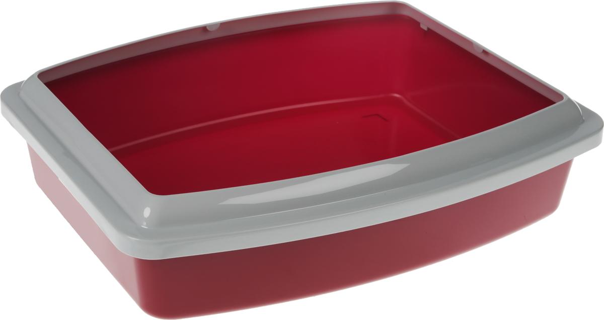 Туалет для кошек Savic Oval Trays Jumbo, с бортом, цвет: бордовый, серый, 56 х 43,5 х 14,5 см12171996Туалет для кошек Savic Oval Trays Jumbo изготовлен из качественного прочного пластика. Высокий цветной борт, прикрепленный по периметру лотка, удобно защелкивается и предотвращает разбрасывание наполнителя.