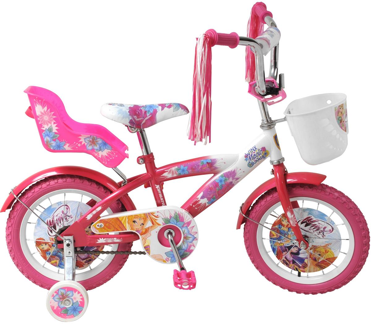 Navigator Велосипед детский двухколесный Winx PinkMHDR2G/AДетский двухколесный велосипед Navigator Winx Pink обязательно понравится вашему ребенку и, несомненно, станет верным спутникам во всех его путешествиях.Для удобства эксплуатации велосипед имеет мягкую накладку на руль, а также удобную переднюю корзинку для мелочей и задний багажник.Для безопасной езды, велосипед оснащен двумя страховочными колесами. Предусмотрены и светоотражательные элементы. Ноги и одежда защищены от контакта с цепью специальной накладкой. Педали с рифленой поверхностью предотвращают скольжение ног.Ограничитель поворота руля предусмотрен для предотвращения падений ребенка из-за резкого поворота руля. Украшен велосипед изображениями героев популярного мультсериала Winx.При производстве велосипеда применяются новые технологии и жесткий контроль проверки качества комплектующих, сборки узлов и регулировки трансмиссии, что обеспечивает качество продукции на высоком уровне.Navigator Winx - это отличный способ дать вашему ребенку возможность чаще бывать на свежем воздухе, много двигаясь с пользой для здоровья.