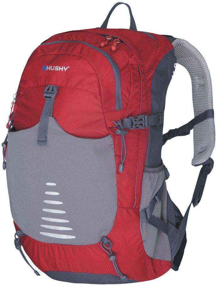 Рюкзак туристический Husky Skid 30, цвет: красный, 30 лУТ-000055334Рюкзак городской SKID 30Объем: 30 литровМатериал: Нейлон 250Т Ripstop Dobby W/PРазмер - 54 х 30 х 18 см Вес: - 1090 гОсобенности: выгнутая спина для повышенной вентиляции NBS,утолщенные и дышащие эргономичные плечевые лямки, нагрудный и поясной ремни,держатель для гидратора,компрессионные ремни,держатели для треккинговых палок и другой экипировки, накидка от дождя, боковые карманы,светоотражающие элементы