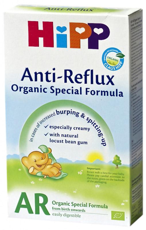 Hipp Антирефлюкс смесь молочная, с рождения, 300 г0120710Заменитель Hipp AR (Хипп Анти-Рефлюкс) с рождения 300/г.Заменитель Hipp AR - антирефлюксная сухая адаптированная молочная смесь, предназначенная специально для кормления младенцев. При кормлении этой молочной смесью за счет повышения вязкости содержимого желудка сокращается обратный приток в пищевод, поэтому пища остается в желудке и снижается частота и интенсивность срыгиваний. Смесь содержит все необходимые малышу питательные вещества.
