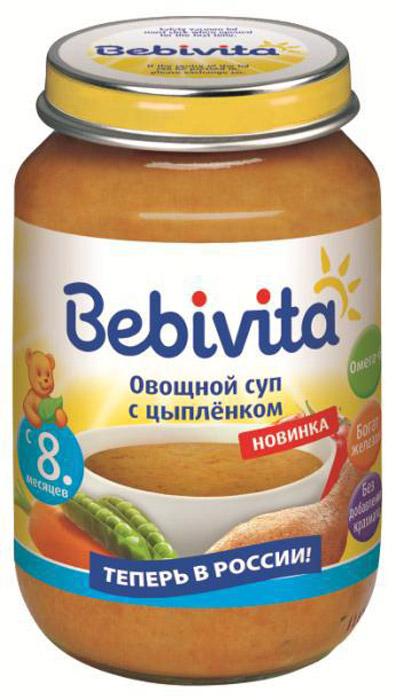 Пюре Bebivita (Бэбивита) Овощной суп с цыпленком с 8 мес. 190/гПюре Bebivita Овощной суп с цыпленком - это растительно-мясные консервы, обогащённые полезными для малыша микроэлементами, такими как железо, йод и жирные кислоты Омега-6. Они предназначены для питания малышей с 8 месяцев, имеют пюреобразную структуру, дополненную небольшими кусочками для развития жевательных навыков. Особое сочетание самых свежих и полезных овощей с аппетитным цыплёнком обеспечивает приятный вкус, который обязательно понравится малышу.