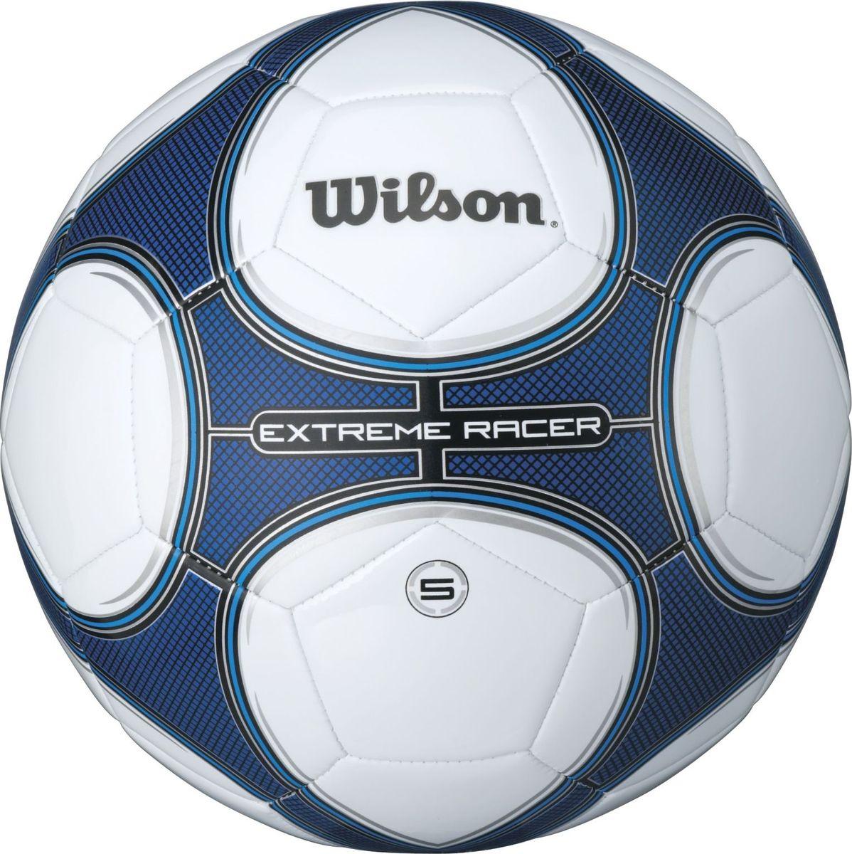 Мяч футбольный Wilson Extreme Racer, цвет: синий. Размер: 5BP8684Новый дизайн мячей EXTREME RACER, водоотталкивающее кожаное покрытие, оптимально мягкое и максимальная износостойкость.