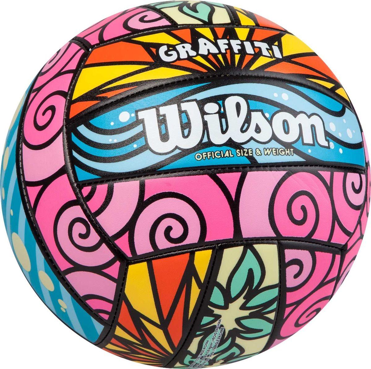 """Мяч волейбольный Wilson """"Graffiti"""", цвет: зеленый, розовый, голубой, диаметр 20 см"""