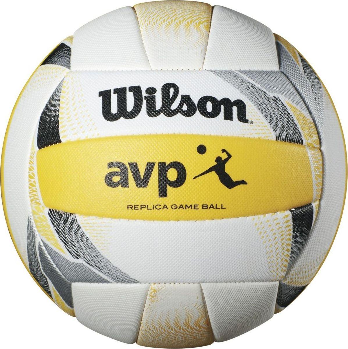 Мяч волейбольный Wilson AVP II Replica, цвет: белый, желтый324214Премимум серия Replicа, созданная специально для профессиональной лиги пляжного волейбола. Текстурное кожаное покрытие для повышенной износостойкости и невероятного ощущения. 18-панельная шовная констуркция для сохранения формы мяча.