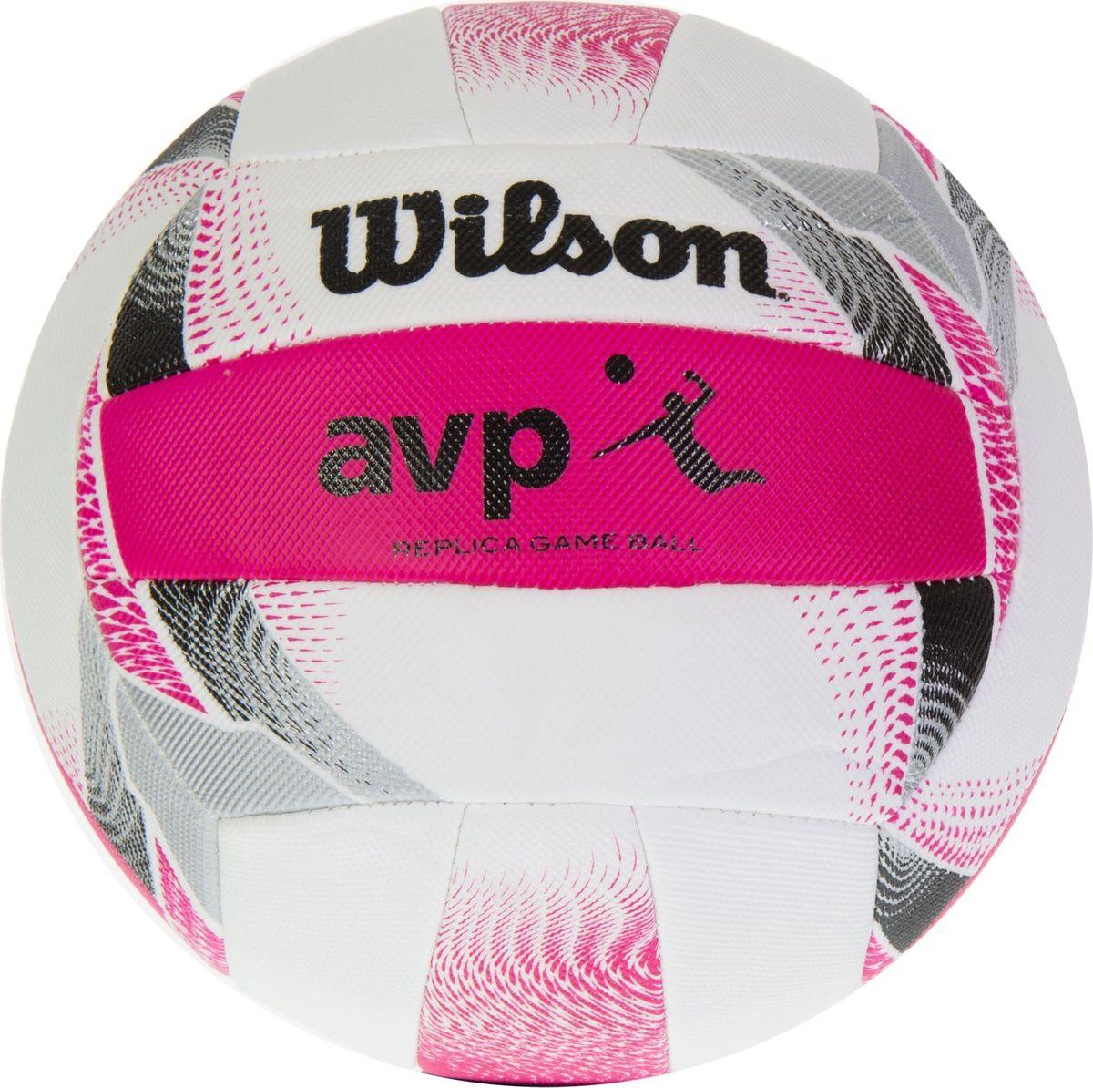 Мяч волейбольный Wilson AVP II Replica, цвет: белый, розовый120335_red/whiteПремимум серия Replicа, созданная специально для профессиональной лиги пляжного волейбола. Текстурное кожаное покрытие для повышенной износостойкости и невероятного ощущения. 18-панельная шовная констуркция для сохранения формы мяча.