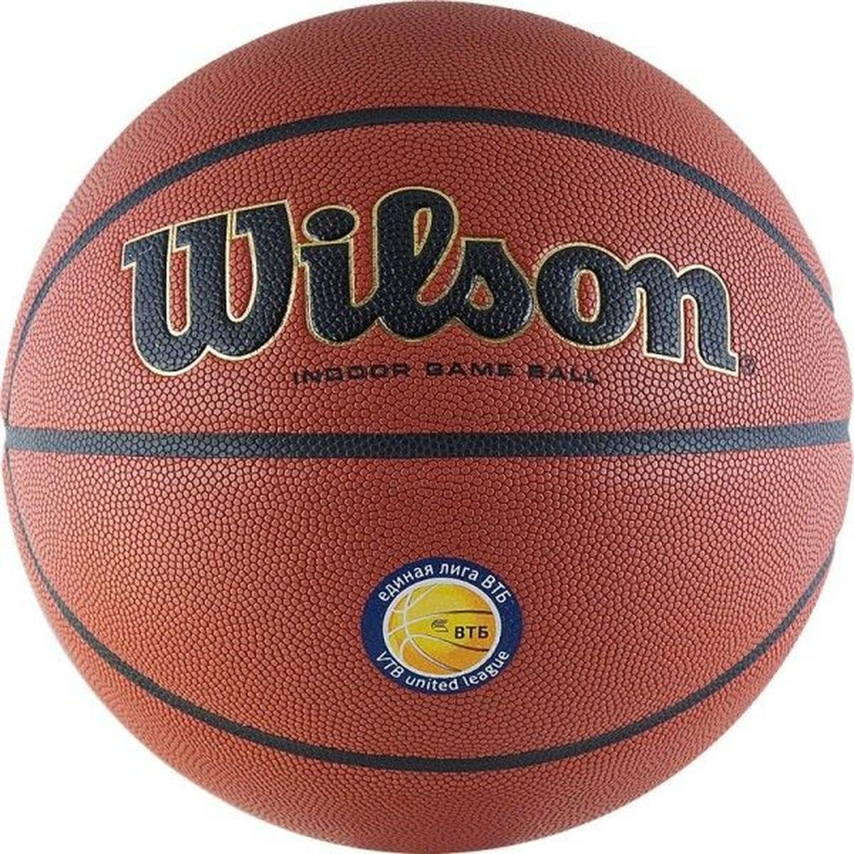 Мяч баскетбольный Wilson Vtb24 Game Sz7, цвет: рыжий. Размер: 7140042_royal/navy/whiteЭксклюзивный мяч с особым кожаным покрытием, с революционными влагопоглощающими канальцами, технологией Cushion Core, созданный для игры высшего класса. С логотипом ВТБ24