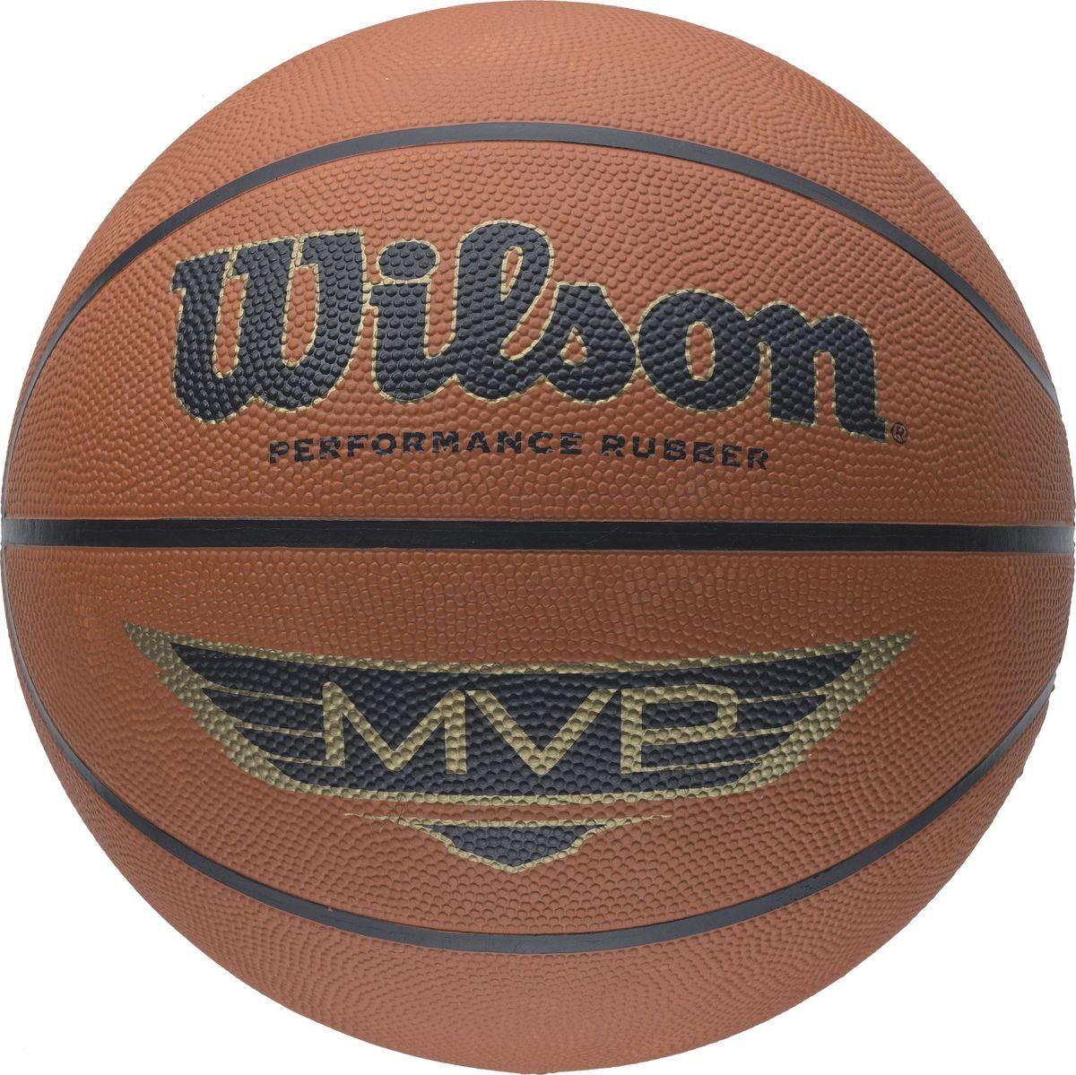 Мяч баскетбольный Wilson MVP, цвет: коричневый65160042Мяч для любого вижа площадки, оптимальный материал покрытия, закрывающаяся под давлением воздуха камера для сохранения формы и давления внутри мяча.